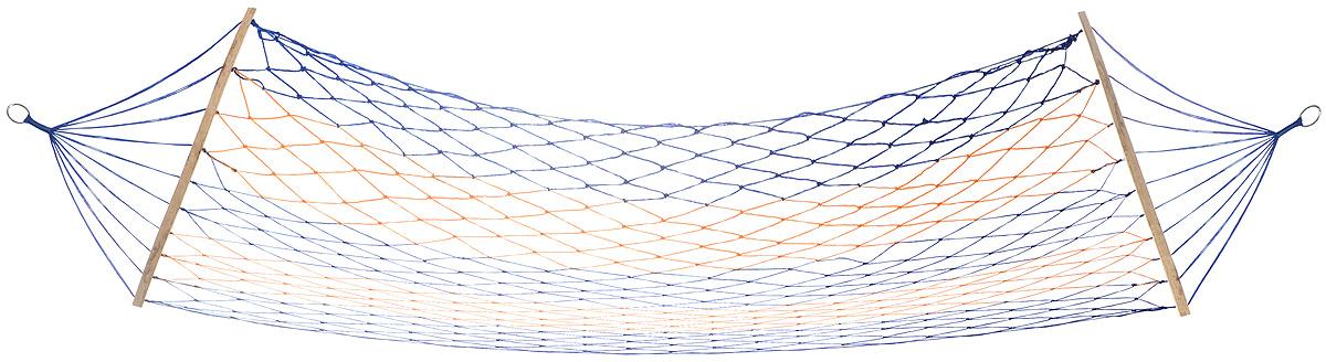 Гамак Wildman Сетка, на кольцах, цвет: синий, оранжевый, 80 х 200 см81-174_синий, оранжевыйПрочный гамак на кольцах Wildman Сетка, изготовленный из нейлона, внесет дополнительный комфорт в ваш отдых на даче, в походе или на пикнике. Изделие оснащено деревянным каркасом. Дача, лето, свежий воздух, отдых после тяжелой работы, возможность побыть наедине с природой, насладиться запахами листвы и цветов, солнечным светом, пробивающимся сквозь кроны деревьев - все эти приятные мысли и эмоции пробуждаются в нас при взгляде на один очень простой предмет - гамак.
