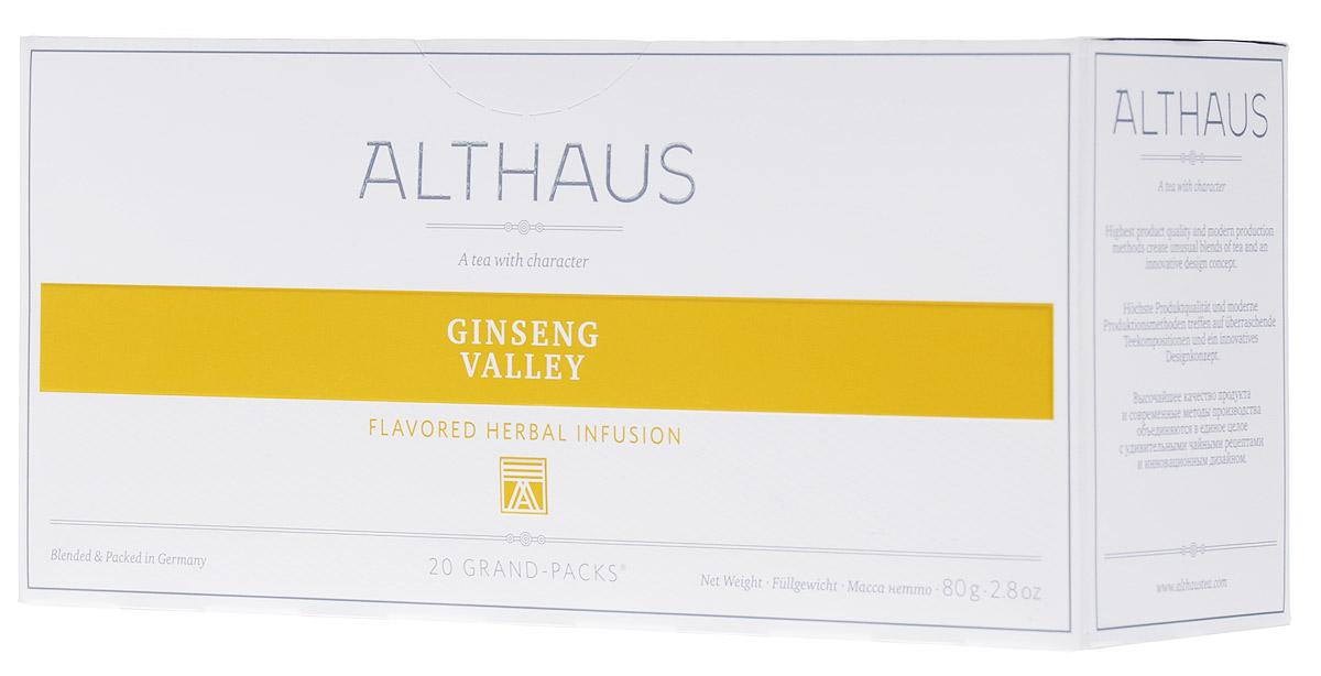 Althaus Grand Pack Ginseng Valley травяной чай в пакетиках, 20 штTALTHB-GP0039Althaus Ginseng Valley (Женьшеневая Долина) — уникальный велнес-напиток на основе целебных трав. В этот купаж входят женьшень, зверобой, листья березы и крапивы, лимонник, сандал. Женьшень улучшает самочувствие, лимонник дарит бодрость, а зверобой, известный как трава от девяноста девяти болезней, укрепляет организм. Сочный персик и нежные цветы апельсина делают этот уникальный напиток не только полезным, но и исключительно приятным на вкус.