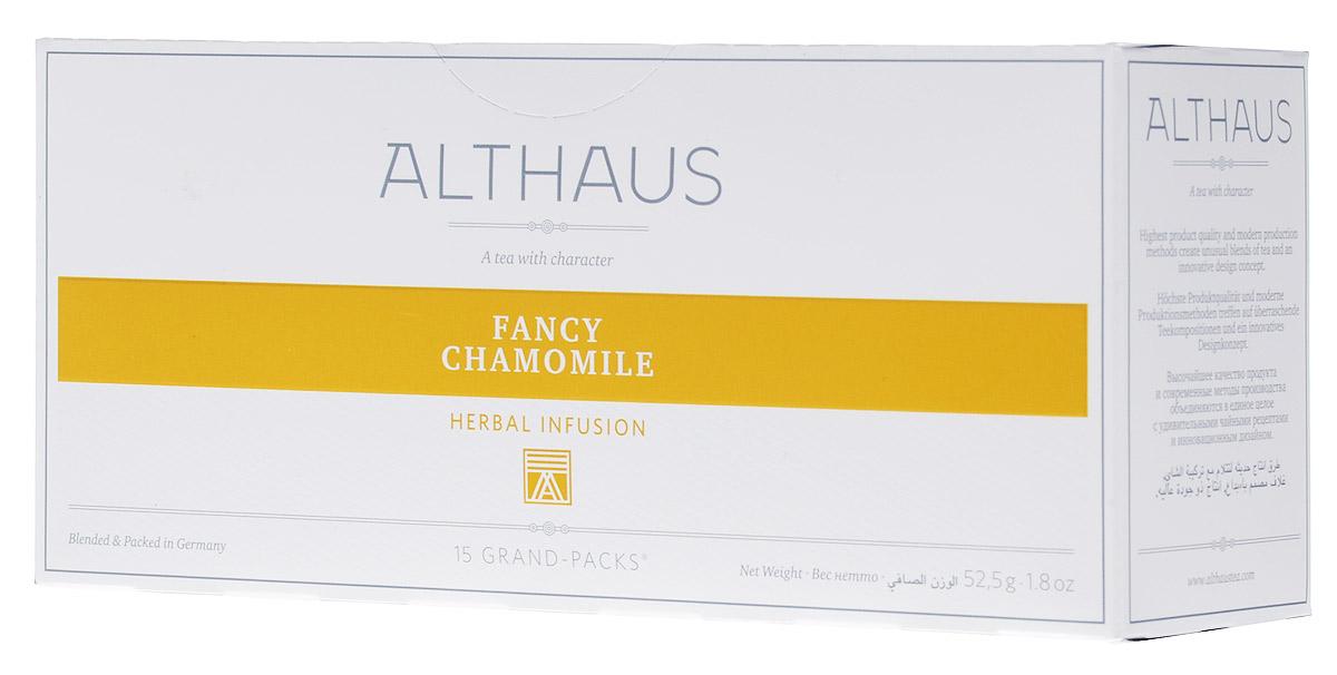 Althaus Grand Pack Fancy Camomile травяной чай в пакетиках, 15 штTALTHB-GP0043Althaus Fancy Camomile (Благородная ромашка) - нежный травяной напиток с пряным вкусом ромашки и освежающих трав. Grand Pack - современная концепция заваривания листового чая в запечатанных чайных фильтрах большего размера. Листья при заварке полностью раскрывают свой вкус и аромат.