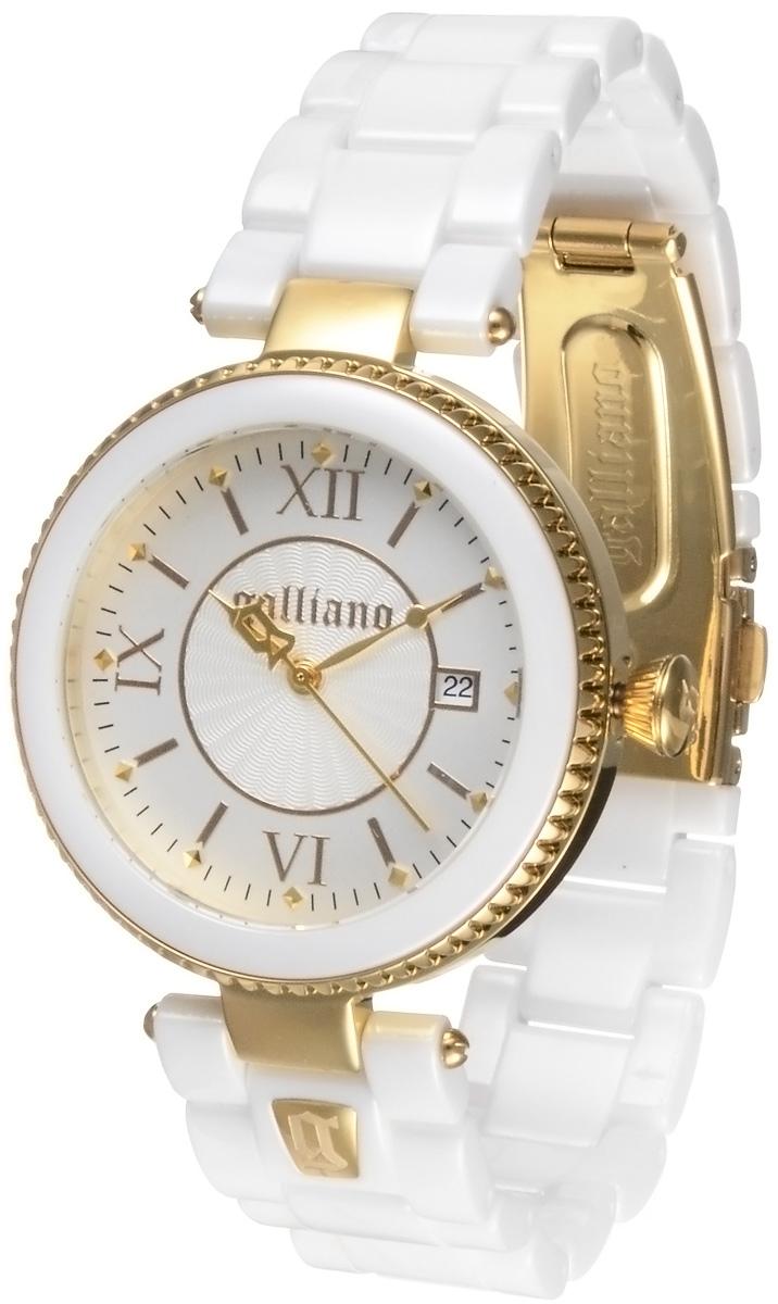 Часы женские наручные Galliano, цвет: белый, золотистый. R2553112505R2553112505Наручные женские часы Galliano созданы для современных девушек, которые не желают потерять свою индивидуальность в городской суете. Они оснащены точным кварцевым механизмом. Водонепроницаемый корпус выполнен из высококачественной нержавеющей стали, безель - из керамики. Корпус часов защищен минеральным стеклом. Циферблат круглой формы оснащен римскими цифрами, отметками и имеет три стрелки - часовую, минутную и секундную. Браслет, выполненный из керамики, оснащен застежкой клипсой. Изделие укомплектовано в фирменную коробку с названием бренда. Часы Galliano благодаря своему великолепному дизайну и качеству исполнения станут главным акцентом вашего образа.