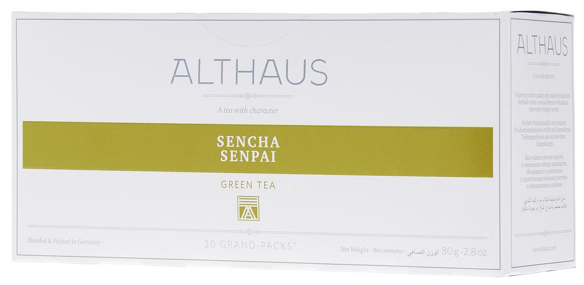 Althaus Grand Pack Sencha Senpai зеленый чай в пакетиках, 20 штTALTHB-GP0035Althaus Sencha Senpai (Сенча Сенпай) — классический японский зеленый чай из отборных листьев. Это самый популярный вид чая в Японии. Для изготовления этого сорта используется особая технология обработки листа на пару, характерная только для Японии. Сенча Сенпай обладает насыщенным вкусом с острым ароматом, мягкой горчинкой и легкой сладковатой нотой.