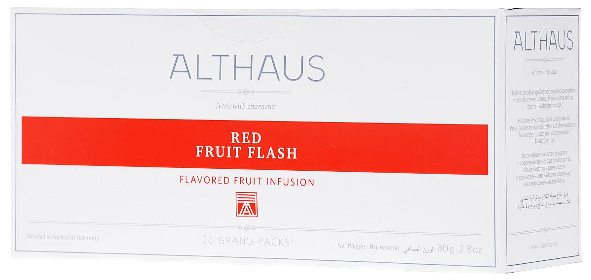 Althaus Grand Pack Red Fruit Flash травяной чай в пакетиках, 20 штTALTHB-GP0042Althaus Red Fruit Flash (Ред Фрут Флэш) - уникальный фруктовый купаж с ярким ягодным ароматом домашнего варенья и приятной кислинкой рубинового каркаде. Grand Pack - современная концепция заваривания листового чая в запечатанных чайных фильтрах большего размера. Листья при заварке полностью раскрывают свой вкус и аромат.