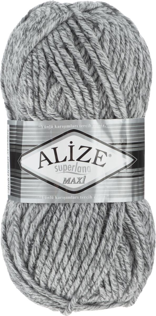 Пряжа для вязания Alize Superlana Maxi, цвет: светло-серый, черный (801), 100 м, 100 г, 5 шт364131_801Пряжа Alize Superlana Maxi обладает плотной скруткой (немного напоминает шнурок), при этом нить мягкая, чуть упругая. Благодаря составу и скрутке петли отлично ложатся одна к другой, вязаное полотно получается ровное и однородное. Пряжа с умеренным, недлинным ворсом, отлично ложится в узор и держит его. Мягкая, очень комфортная как для работы, так и для носки. В качестве моделей для вязки можно рекомендовать плотные вещи: пальто, осенние длинные кардиганы, пончо, болеро, мужские свитера. Рассчитана на любой уровень мастерства, но особенно понравится начинающим мастерицам - благодаря толстой нити пряжа Alize Superlana Maxi позволяет быстро связать простую вещь. Структура и состав пряжи максимально комфортны для вязания. Рекомендуемый размер спиц: № 8-10 мм. Состав: 75% акрил, 25% шерсть.