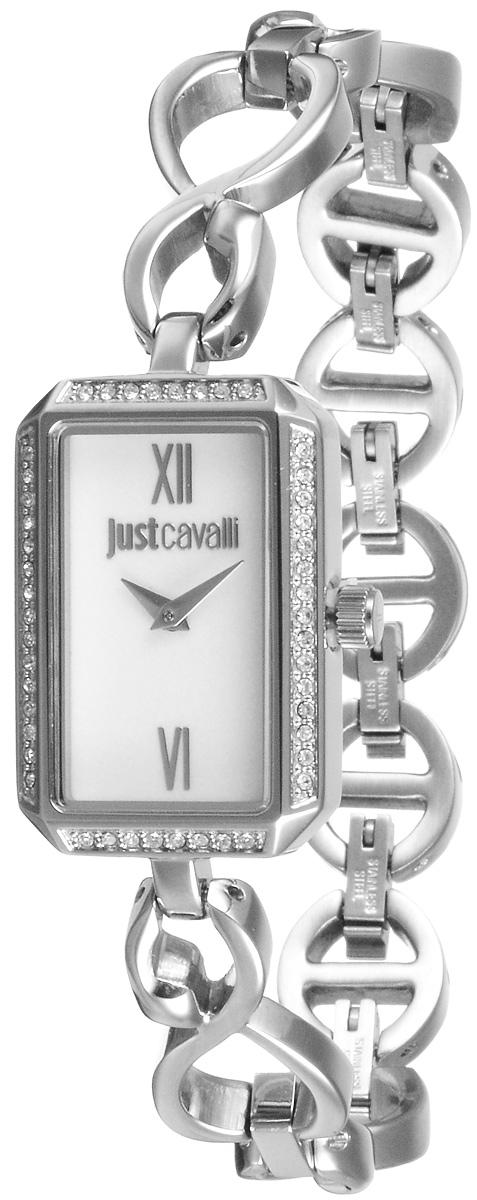 Часы женские наручные Just Cavalli, цвет: серебристый. R7253150504R7253150504Наручные часы Just Cavalli созданы для современных девушек, которые не желают потерять свою индивидуальность в городской суете. Корпус, выполненный из нержавеющей стали, инкрустирован стразами и защищен минеральным стеклом. Стальной браслет имеет имеет складной замок. Изделие оснащено 5 съемными звеньями, благодаря которым, браслет можно регулировать под нужный обхват запястья. Циферблат прямоугольной формы оснащен римскими цифрами, а также имеет две стрелки - часовую и минутную. Изделие укомплектовано в фирменный футляр с названием бренда. Стильные часы подчеркнут изящество женской руки и отменное чувство стиля их обладательницы.