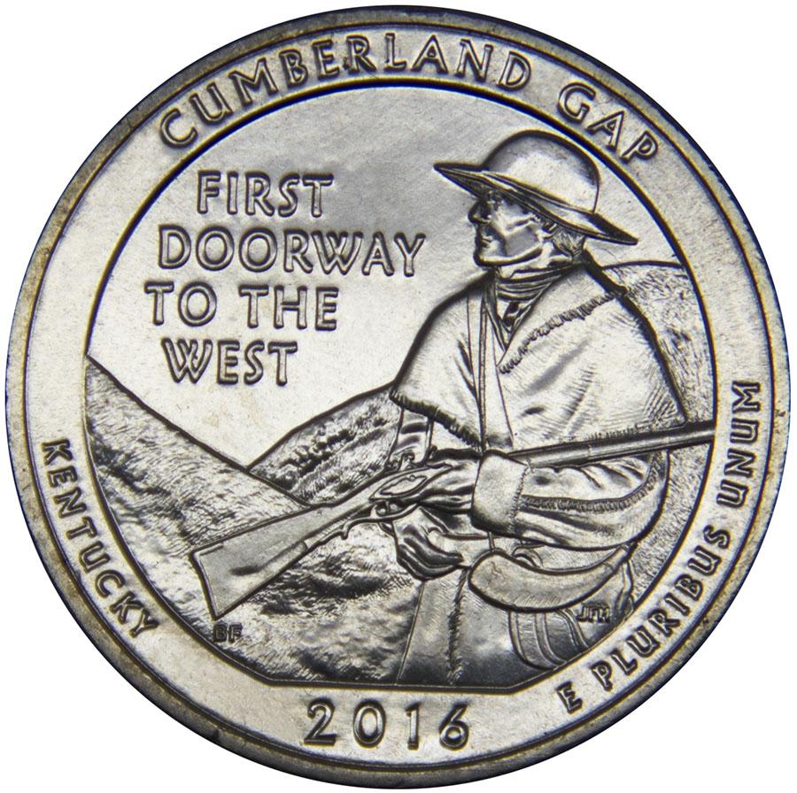 Монета номиналом 25 центов серии Национальные парки. Камберленд-Гэп (Кентукки). Медно-никелевый сплав. США, 2016 год791504Диаметр: 24,5 мм. Вес: 5,67 гр. Материал: медно-никелевый сплав Сохранность: UNC