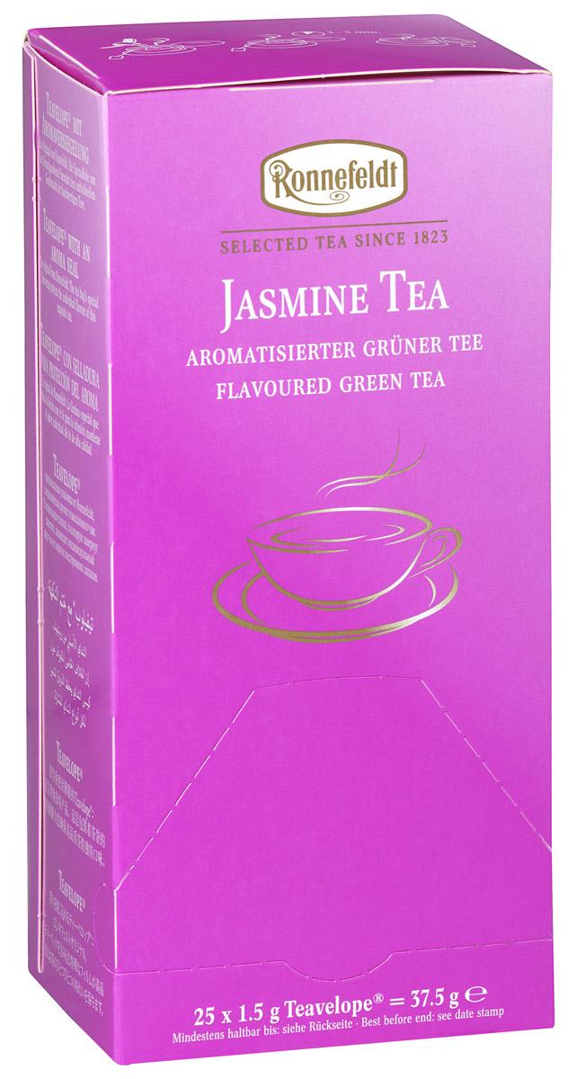 Ronnefeldt зеленый чай с жасмином в пакетиках, 25 шт16020Нежные цветки жасмина дарят свой мягкий аромат китайскому зеленому чаю летнего сбора. Чай из линии Teavelope произведен традиционным способом. Качество трав, фруктов и других ингредиентов отвечает самым высоким требованиям. А особая защитная упаковка сохраняет чай таким, каким его создала природа: ароматным, свежим и неповторимым.
