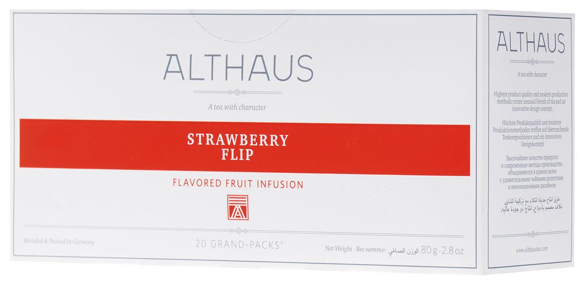 Althaus Grand Pack Strawberry Flip ягодный чай в пакетиках, 20 штTALTHB-GP0040Althaus Strawberry Flip (Строберри Флип) — ароматный темно-красный напиток с замечательным мягким вкусом спелой садовой клубники и воздушных сливок. Освежающий шиповник и душистое яблоко рождают в букете благоухание фруктового сада, а лепестки суданской розы привносят легкий цветочный оттенок. Строберри Флип можно пить не только в горячем, но и в холодном виде со льдом.
