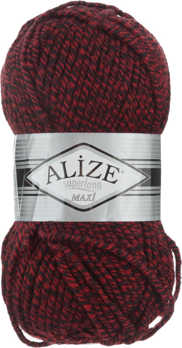 Пряжа для вязания Alize Superlana Maxi, цвет: бордовый, черный (603), 100 м, 100 г, 5 шт364131_603Пряжа Alize Superlana Maxi обладает плотной скруткой (немного напоминает шнурок), при этом нить мягкая, чуть упругая. Благодаря составу и скрутке петли отлично ложатся одна к другой, вязаное полотно получается ровное и однородное. Пряжа с умеренным, недлинным ворсом, отлично ложится в узор и держит его. Мягкая, очень комфортная как для работы, так и для носки. В качестве моделей для вязки можно рекомендовать плотные вещи: пальто, осенние длинные кардиганы, пончо, болеро, мужские свитера. Рассчитана на любой уровень мастерства, но особенно понравится начинающим мастерицам - благодаря толстой нити пряжа Alize Superlana Maxi позволяет быстро связать простую вещь. Структура и состав пряжи максимально комфортны для вязания. Рекомендуемый размер спиц: № 8-10 мм. Состав: 75% акрил, 25% шерсть.