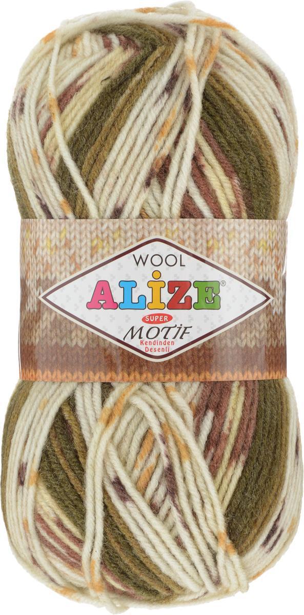 Пряжа для вязания Alize Motif, цвет: молочный, коричневый, хаки (5857), 200 м, 100 г, 5 шт367014_5857Турецкая пряжа Alize Motif, выполненная из шерсти и акрила, предназначена для ручного вязания. Нить толстая крученая, очень мягкая. Хорошо подходит для вязания теплых свитеров, пальто, изделий для интерьера. Оригинальное сочетание разноцветного узора и полос. Теплая осенне-зимняя пряжа для всей семьи. При вязании лицевой гладью складываются жаккардовые узоры. Состав: 80% акрил, 20% шерсть. Рекомендованные спицы № 5-6.