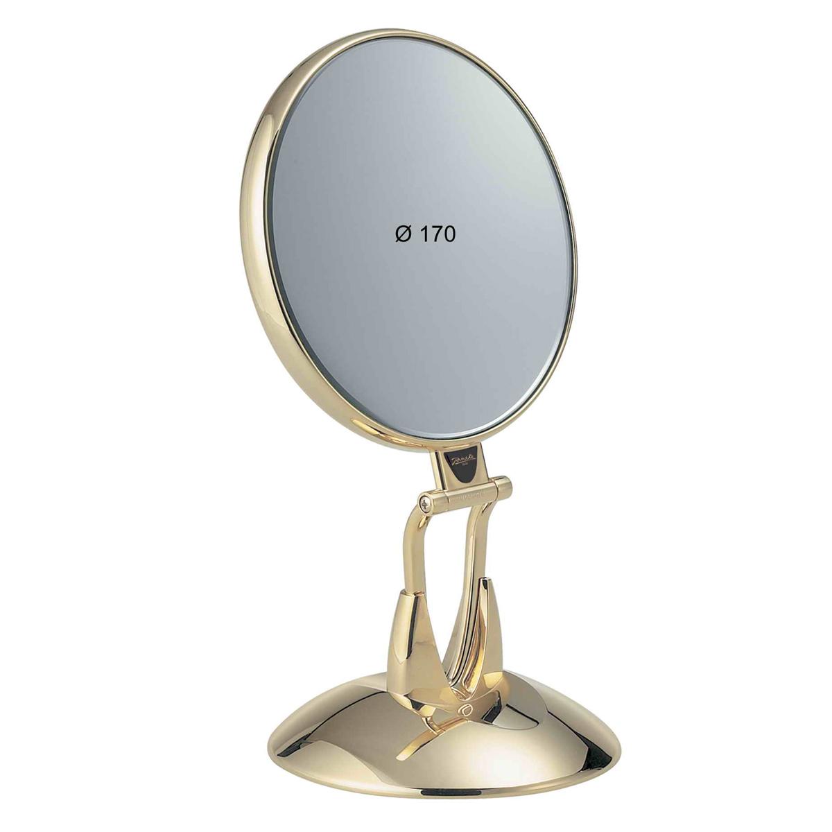 Janeke Зеркало настольное, линзы ZEISS, позолоченное, AU447.3SU.132Марка Janeke – мировой лидер по производству расчесок, щеток, маникюрных принадлежностей, зеркал и косметичек. Марка Janeke, основанная в 1830 году, вот уже почти 180 лет поддерживает непревзойденное качество своей продукции, сочетая новейшие технологии с традициями старых миланских мастеров. Все изделия на 80% производятся вручную, а инновационные технологии и современные материалы делают продукцию марки поистине уникальной. Стильный и эргономичный дизайн, яркие цветовые решения – все это приносит истинное удовольствие от использования аксессуаров Janeke. Зеркала для дома итальянской марки Janeke, изготовленные из высококачественных материалов и выполненные в оригинальном стильном дизайне, дополнят любой интерьер. Односторонние или двусторонние, с увеличением и без, на красивых и удобных подставках – зеркала Janeke прослужат долго и доставят истинное удовольствие от использования