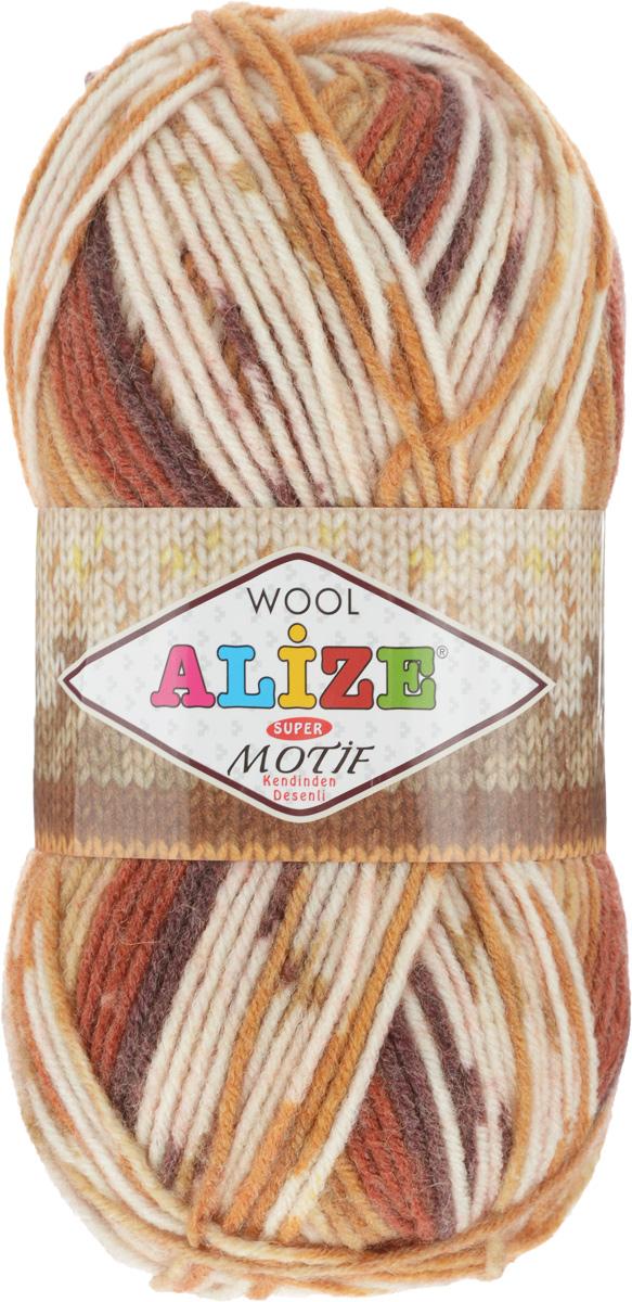 Пряжа для вязания Alize Motif, цвет: слоновая кость, терракотовый, светло-коричневый (4765), 200 м, 100 г, 5 шт367014_4765Турецкая пряжа Alize Motif, выполненная из шерсти и акрила, предназначена для ручного вязания. Нить толстая крученая, очень мягкая. Хорошо подходит для вязания теплых свитеров, пальто, изделий для интерьера. Оригинальное сочетание разноцветного узора и полос. Теплая осенне-зимняя пряжа для всей семьи. При вязании лицевой гладью складываются жаккардовые узоры. Состав: 80% акрил, 20% шерсть. Рекомендованные спицы № 5-6.