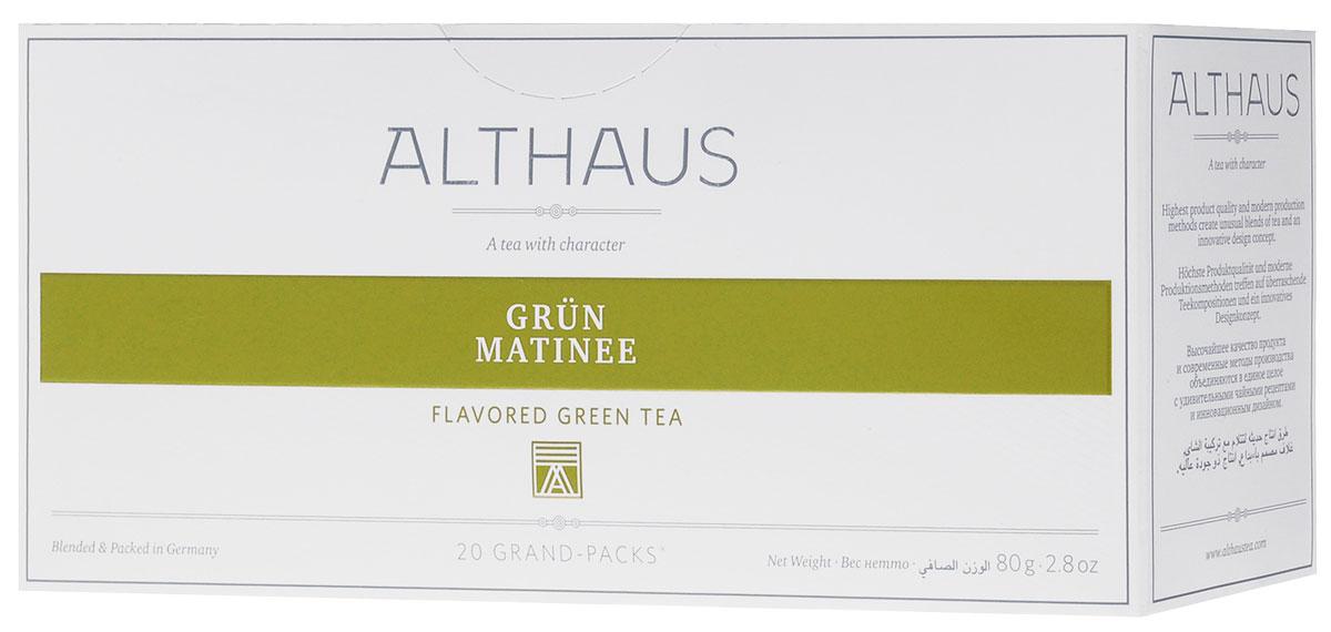 Althaus Grand Pack Grun Matinee зеленый чай в пакетиках, 20 штTALTHB-GP0037Althaus Grun Matinee (Грюн Матинэ) — необыкновенный купаж классического японского зеленого чая Сенча с лепестками розы, василька и подсолнечника. Грюн Матинэ дает настой с деликатным освежающим букетом. В нежном цветочно-фруктовом аромате чувствуются земляничные нотки и медовая сладость грушевых оттенков.