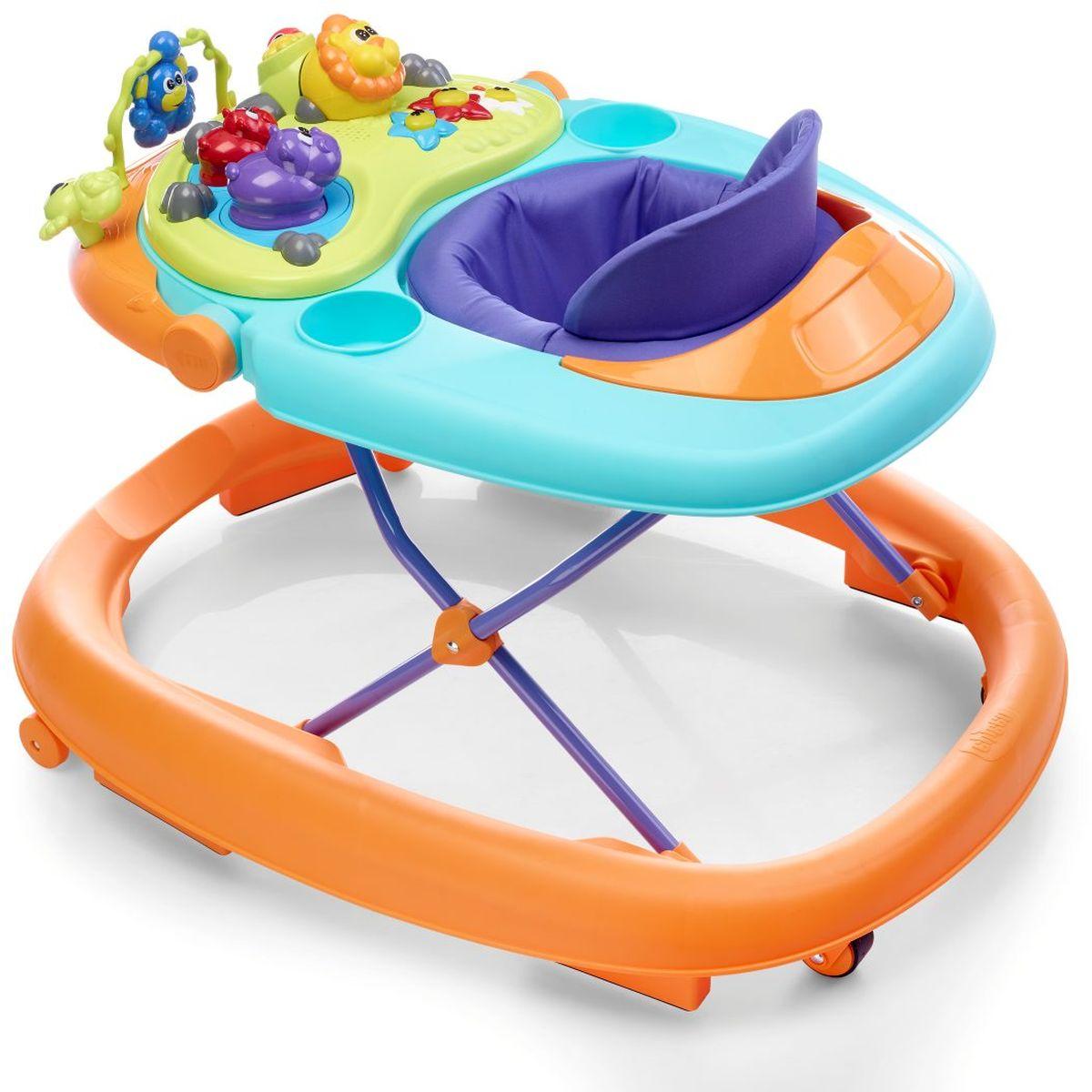 Chicco Ходунки Walky Talky цвет оранжевый07079540980000Высота ходунков Chicco может быть отрегулирована по мере роста ребенка. Ходунки оснащены панелью для игр, которая помогает развивать зрительные и слуховые навыки ребенка, а также координацию рук. Они оснащены двумя задними колесами, двумя передними поворотными колесами, а также шестью нескользящими тормозами, соответствующими применимым европейским нормам безопасности и предохраняющими от случайных падений с лестниц.
