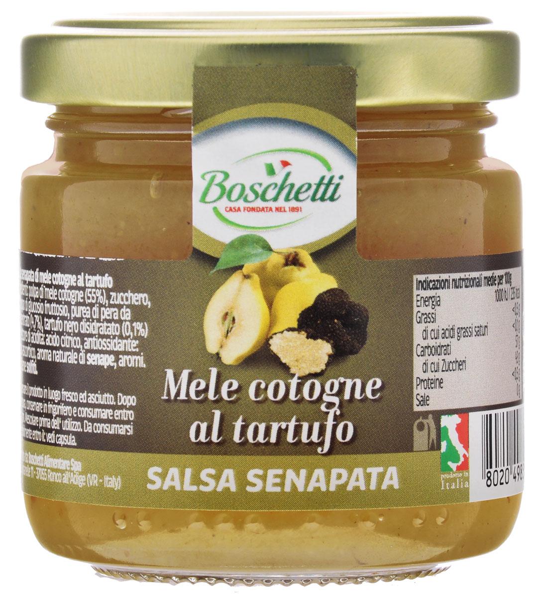 Boschetti Mele cotogne al tartufo соус сальса, 120 гSP#TC35AYBoschetti Mele cotogne al tartufo - классический овощной соус южных стран. Сальсу часто подают в качестве дипа и для добавления к разнообразным блюдам — как овощным, так и мясным. Состав: мякоть айвы (55%), сахар, сироп глюкозы-фруктозы, пюре грушевое концентрированное (4,7%), чёрный трюфель сушёный (0,1%), регулятор кислотности (лимонная кислота), антиокислитель (аскорбиновая кислота), натуральный ароматизатор горчица, ароматизаторы. Содержит сульфиты.