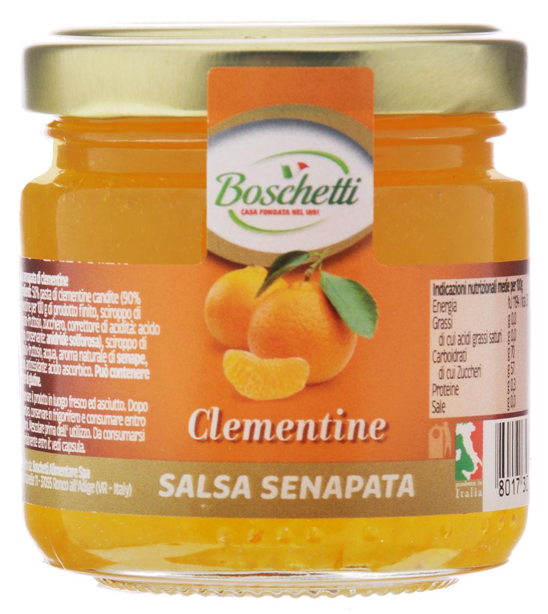 Boschetti Clementine соус сальса, 120 гSP#6335AYГорчичный соус Boschetti из мандарина имеет вкус праздника. Об этом позаботились итальянские кулинары, сумевшие добиться грамотного сочетания горчицы и мандарина. Тонкие вкусовые оттенки дополняются аппетитным ароматом. Если же вы цените свое время, то просто используйте Boschetti как наполнитель в тарталетках вместе с сыром или кусочком измельченной ветчины. За очень короткое время у вас получится целое блюдо оригинальных лакомств. Состав: паста мандариновая с сахаром 50% (90% мандарин на 100 г готового продукта: сироп глюкозы-фруктозы, сахар, регулятор кислотности (лимонная кислота), консервант (ангидрид)), сироп глюкозы-фруктозы, вода, натуральный ароматизатор горчица, ароматизаторы, антиокислитель (аскорбиновая кислота). Может содержать клейковину.