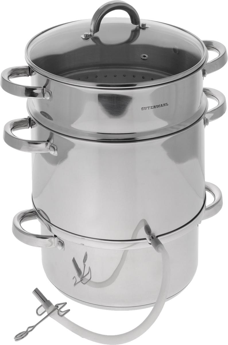 Соковарка Guterwahl с крышкой, 3-уровневая, 8 лGS-JS-26Соковарка Guterwahl, изготовленная из нержавеющей стали, предназначена для изготовления натуральных плодовых и ягодных соков в домашних условиях. Соковарка состоит из кастрюли для воды с мерной шкалой, контейнера- приемника для сока с выходом, пароварки-сетки для фруктов и ягод, стеклянной крышки, а также силиконовой трубки с зажимом. Прозрачная крышка, выполненная из термостойкого стекла с отверстием для выпуска пара, позволяет следить за процессом приготовления, а литые ручки, крепящиеся к корпусу посуды, обеспечивают удобство при эксплуатации. Форма кромки посуды предотвращает разливание жидкости, а благодаря правильности линий кромки в комбинации с крышкой обеспечивается максимальная герметизация между ними. На отводной трубке, выполненной из силикона, имеется зажим. Соковарка подходит для газовых, электрических, стеклокерамических, галогеновых и индукционных плит. Можно мыть в посудомоечной машине. Диаметр...