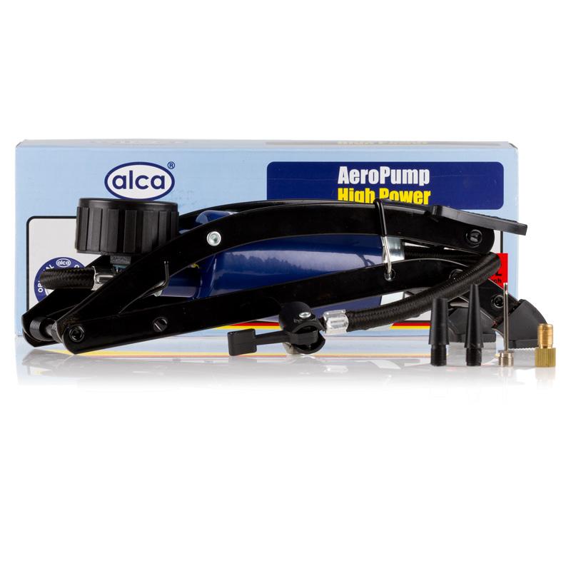 Насос ножной Alca, одинарный, с манометром201000Насос ножной один цилиндр 7 бар, с манометром,шланг 45 см., 4 адаптера для накачки шин автомобилей, мячей, велосипедов и т.д.
