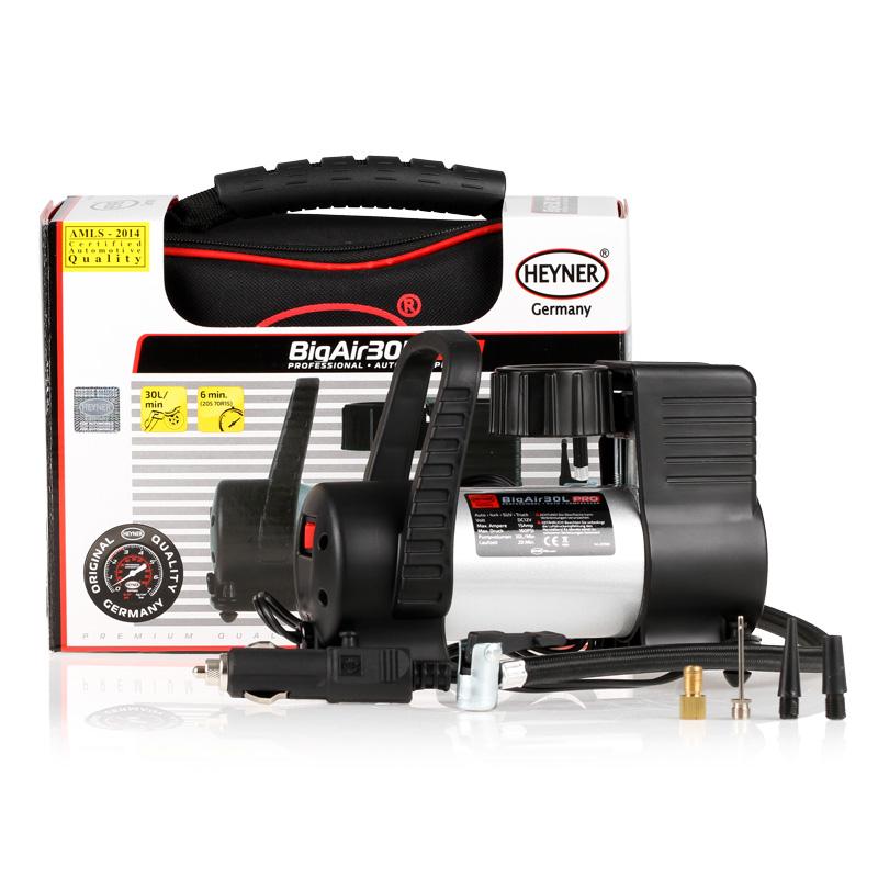 Автомобильный компрессор Heyner Big Air Премиум. 237500237500Компрессор Big Air Премиум 12В, 180 W, 11бар,30л/мин. Идеален для микроавтобусов и джипов. Скорость заполнения шин 205 70R15 около 6 минут. В комплекте сумка и 4 адаптора.