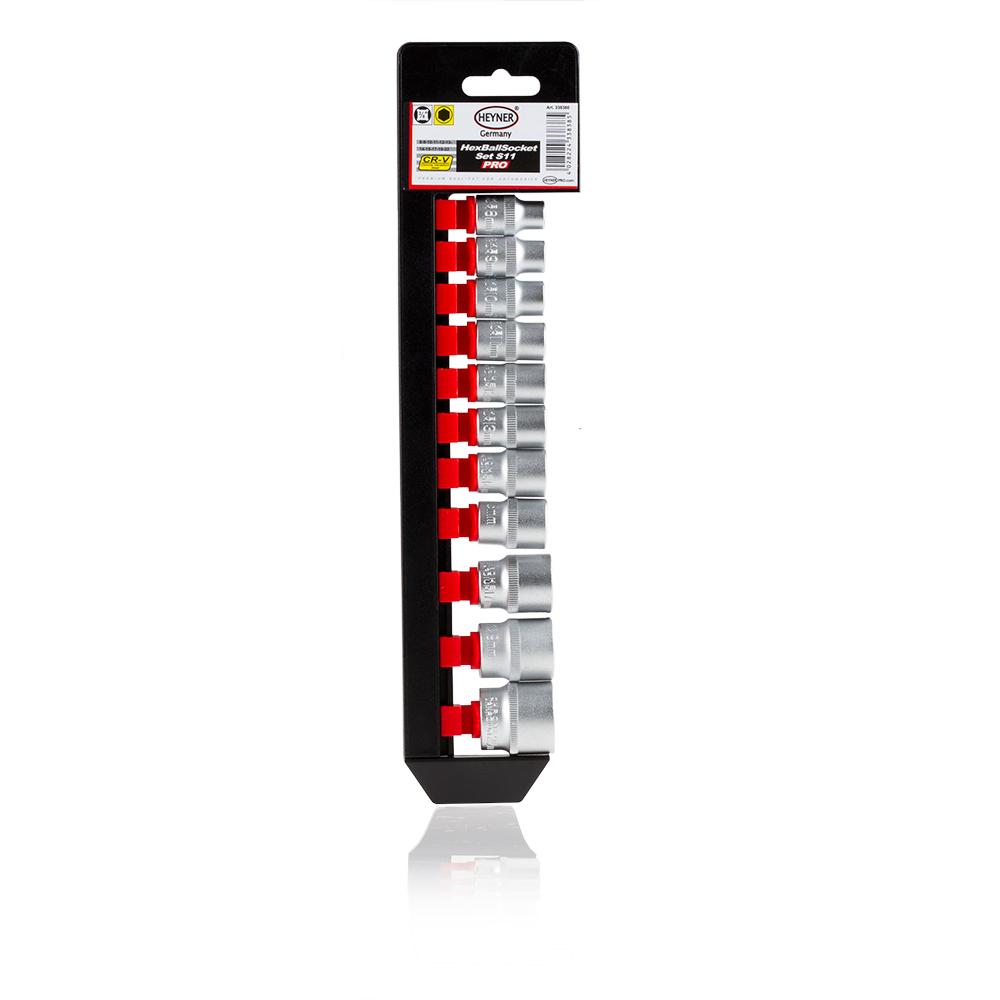 Набор головок Heyner, 3/8, 11 шт338380Набор головок 3/8, 11 шт. 8-9-10-11-12-13-14-15-17-19-22 мм. Хром-ванадиевая качественная сталь.