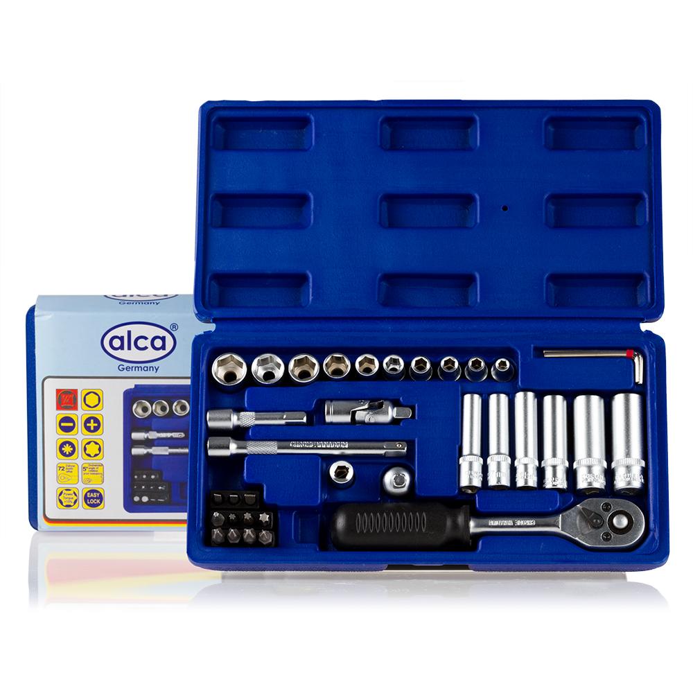 Набор головок Alca, 37 предметов413100Набор головок, 37 предметов. 10 - шестегранных головок 4-13 мм. 6 - шестигранных длинных головок 6-13 мм. 1 - трещётка. 1- карданный шарнир. 2 — удлдинителя 5 см. и 10 см. 3 — шестигранных ключа 1.5; 2;2.5. 1- держатель бит. 1- адаптер 1/4(М)*3/4(F). 11 — битТ10-Т30(+) 1,2 (+) 1,2(-)3,4,5. Качественная ванадиевая сталь. Крутящий момент +15%. Крепкий инструментальный ящик.