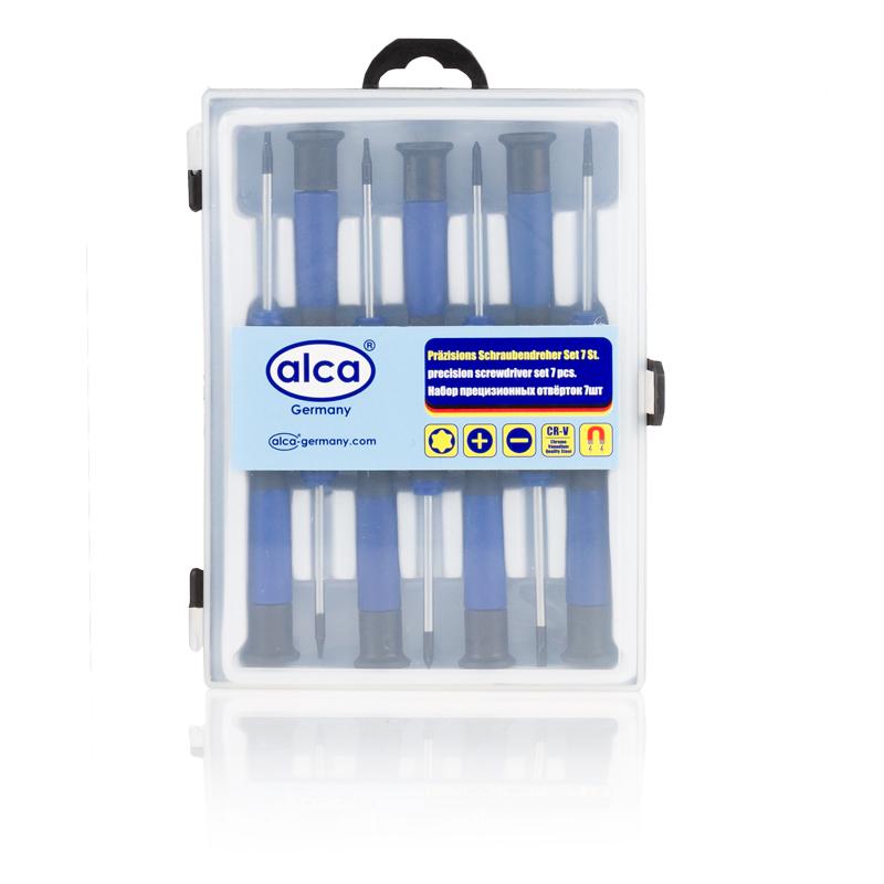 Набор прецизионных отверток Alca, 7 шт400Набор Alca состоит из 7 прецизионных отверток, изготовленных из стали прочностью 45 HRC. Отвертки снабжены пластиковыми рукоятками эргономичной формы и магнитными наконечниками. Прецизионные отвертки используются при проведении мелких и точных работ с крепежными деталями и элементами. В комплекте: 2 шт (-) 2.5, 3; 2 шт (+) 3, 2.5; 3 шт (*) T5, T6, T7.