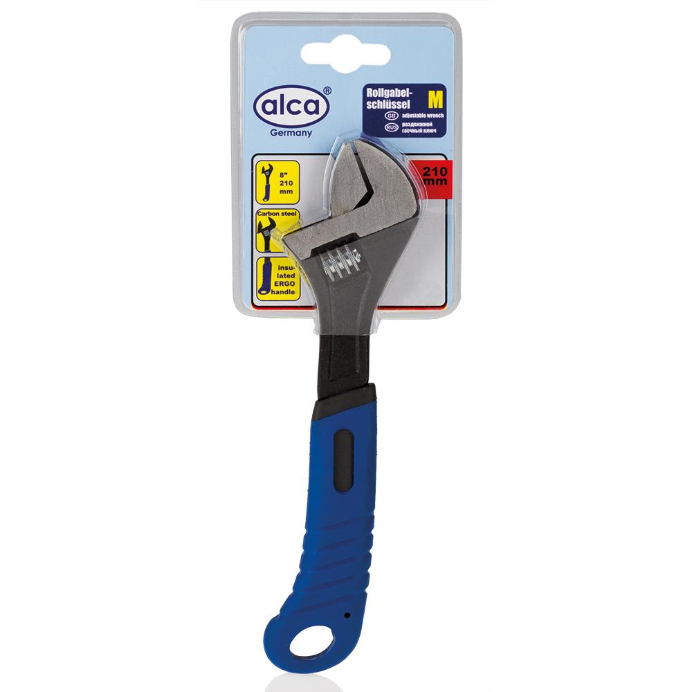 Разводной гаечный ключ Alca, 170 мм459400Разводной гаечный ключ 170 мм. Карбоновая сталь твердости; HCR 40-50. Изолированные эргономичные ручки.