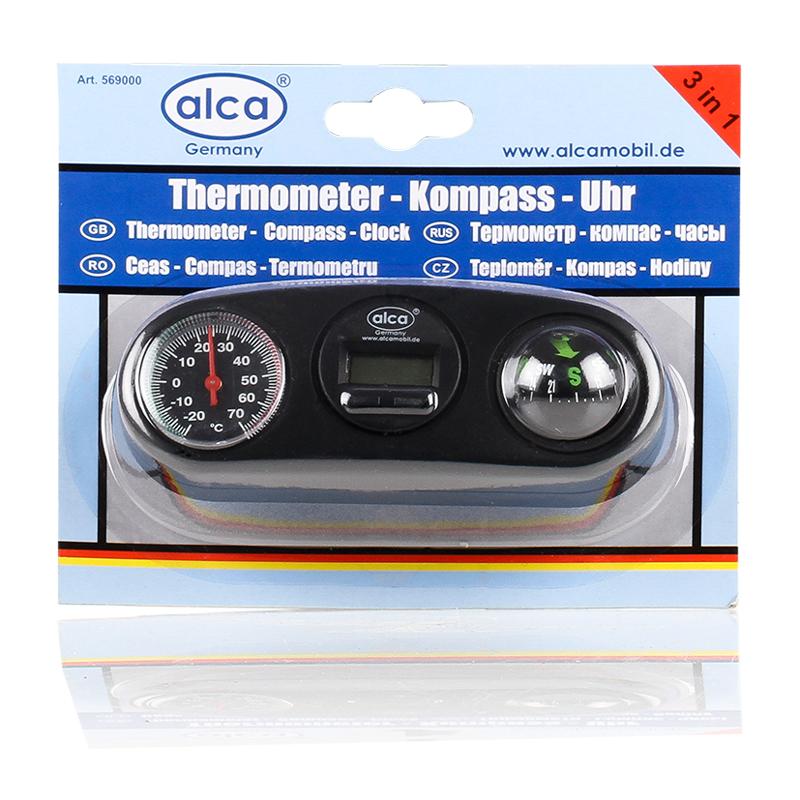 Термометр, часы, компас 3 в 1 Alca569000Термометр, часы, компас 3 в 1 Alca - это компактный, многофункциональный прибор, который пригодится любому автовладельцу. Изделие имеет прочный ударопрочный корпус, выполненный из пластика. Компас снабжен электронными часами, циферблатом для определения температуры и компасом.