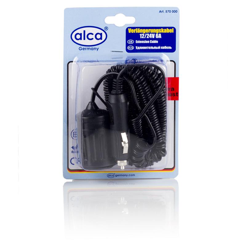 Удлинитель прикуривателя Alca, 12В/24В, 6 А, 5 м570000Удлинитель прикуривателя Alca со спиральным кабелем позволяет увеличить длину шнура электрических приборов, и теперь его ограниченная длина не будет сковывать вас. Имея в своем автомобиле удлинитель гнезда прикуривателя, вы делаете автомобильную электророзетку мобильной, а значит используемый прибор больше не будет попадать под руку во время движения. Теперь вы можете поместить его в любом удобном месте в салоне и за его пределами. Например, удлинитель прикуривателя выручит вас на природе, когда придет время накачивать надувную лодку. Автохолодильник, подключенный с помощью удлинителя, займет подходящее место, а не то, которое ему позволял короткий шнур. Длина кабеля: 5 м. Напряжение: 12В/24В. Сила тока: 6 А.