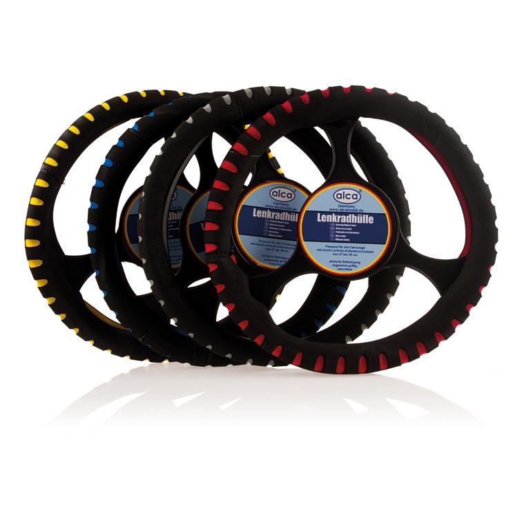 Чехол на руль Alca Люкс, перфорированный, цвет: черный, синий, диаметр 37-39 см