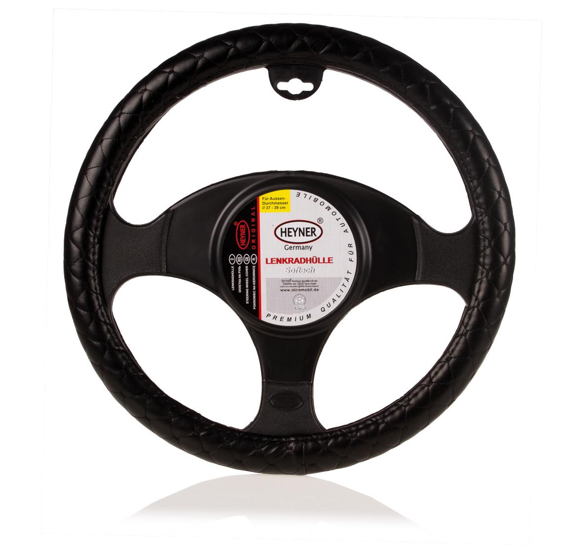 Чехол на руль Heyner, натуральная кожа, цвет: черный, диаметр 37-39 см