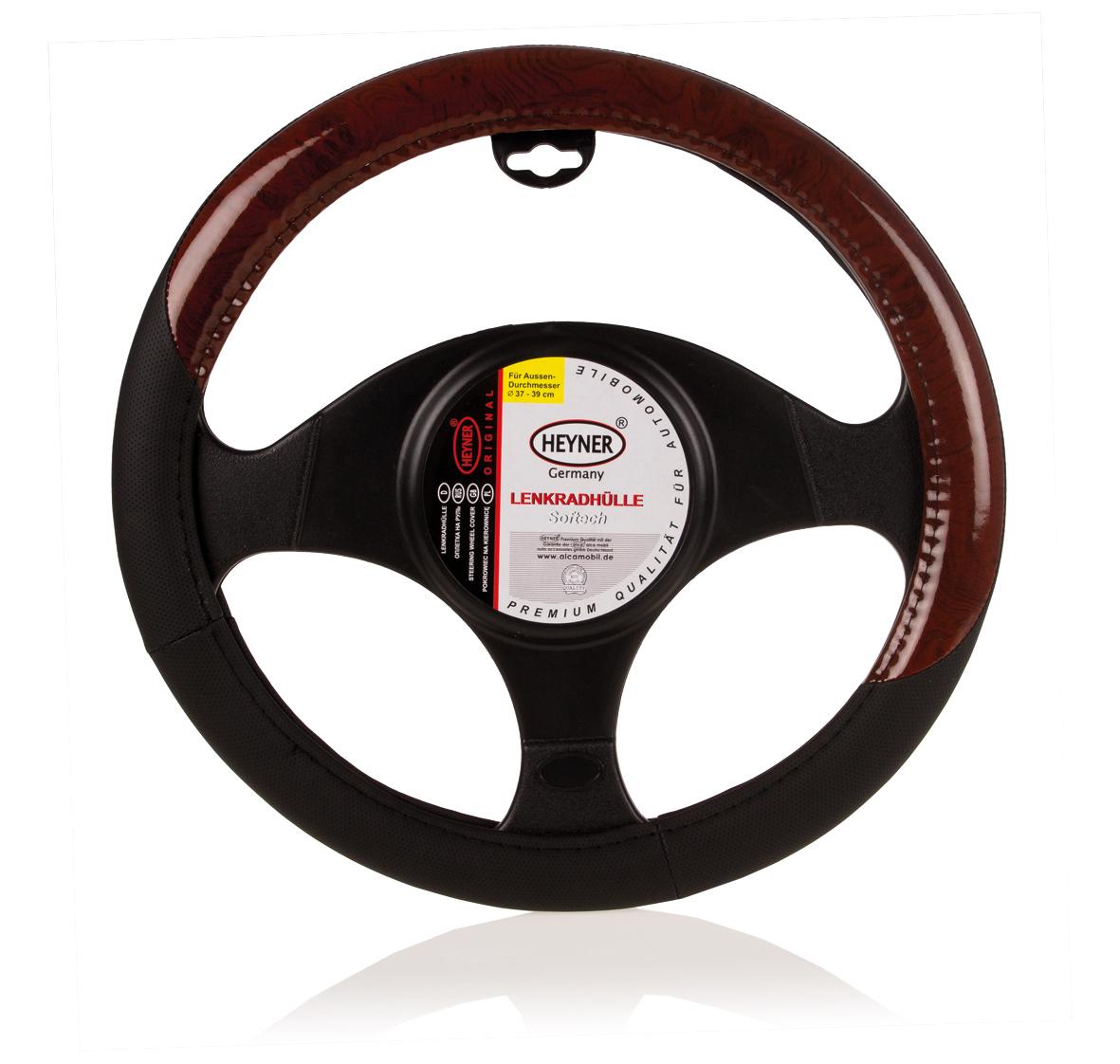 """Чехол на руль """"Heyner"""", натуральная кожа, цвет: черный c коричневыми вставками, диаметр 37-39 см"""