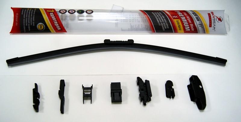 Щетка стеклоочистителя Skybear Premium, бескаркасная, 52,5 см, 1 шт701210Бескаркасная щетка стеклоочистителя Skybear Premium прекрасно очищает в любую погоду. Тефлоновое покрытие обеспечивает превосходную очистку и увеличивает срок эксплуатации. Щетка обладает аэродинамическим дизайном. Подходит к 95% автомобилей. В комплект входят 7 адаптеров.