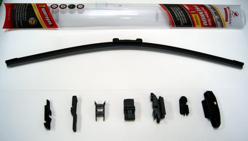 Щетка стеклоочистителя Skybear Premium, бескаркасная, 58 см, 1 шт701230Бескаркасная щетка стеклоочистителя Skybear Premium прекрасно очищает в любую погоду. Тефлоновое покрытие обеспечивает превосходную очистку и увеличивает срок эксплуатации. Щетка обладает аэродинамическим дизайном. Подходит к 95% автомобилей. В комплект входят 7 адаптеров.
