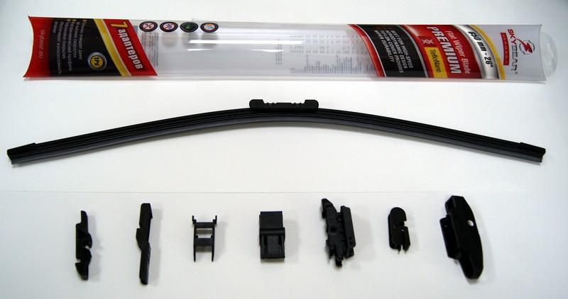 Щетка стеклоочистителя Skybear Premium, бескаркасная, 65 см, 1 шт701260Бескаркасная щетка стеклоочистителя Skybear Premium прекрасно очищает в любую погоду. Тефлоновое покрытие обеспечивает превосходную очистку и увеличивает срок эксплуатации. Щетка обладает аэродинамическим дизайном. Подходит к 95% автомобилей. В комплект входят 7 адаптеров.