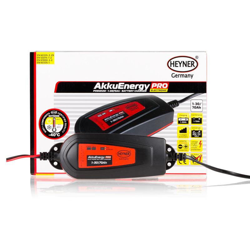 Мобильное зарядное устройство Heyner AkkuEnergy PRO для АКБ 1-30 Ah 12V927030Мобильное зарядное устройство AkkuEnergy PRO для кислотных АКБ 1-30 Ah. Процесс зарядки управляется микропроцессором. 4 ступенчатый процеc зарядки. Поддерживает АКБ емкостью от 1-70 Ah в рабочем состоянии в преиод когда АКБ находится на хранении. Ток зарядки импульсный. Защита от обратной полярности, короткого замыкания прегрева и импульсных перенапряжений. Копус изготовлен из прочного пластика (IP65)