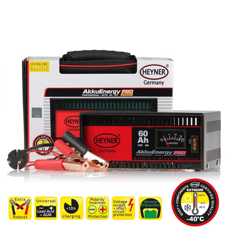 Зарядное устройство Heyner, 6 А, 15-60 Ач, 12В930600Зарядное устройство Heyner предназначено для АКБ емкостью 15-60 Ач 12В. Изделие имеет гарантированную работоспособность при -40°С. Универсальные клеммы подходят для всех аккумуляторов. Устройство защищено от перегрузок, от обратного тока и от короткого замыкания. Переключатель стандарт/быстрый заряд. Предназначен для кислотных АКБ и АКБ стандарта AGM. Удобная сумка для хранения и перевозки в комплекте. Емкость: 15-60 Ач. Ток: 6 А. Напряжение: 12В.