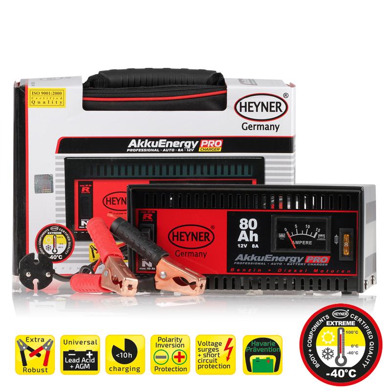 Зарядное устройство Heyner, 8 А, 18-80 Ач, 12В930800Зарядное устройство Heyner предназначено для АКБ емкостью 18-80 Ач 12В. Изделие имеет гарантированную работоспособность при -40°С. Универсальные клеммы подходят для всех аккумуляторов. Устройство защищено от перегрузок, от обратного тока и от короткого замыкания. Переключатель стандарт/быстрый заряд. Предназначен для кислотных АКБ и АКБ стандарта AGM. Удобная сумка для хранения и перевозки в комплекте. Емкость: 18-80 Ач. Ток: 8 А. Напряжение: 12В.