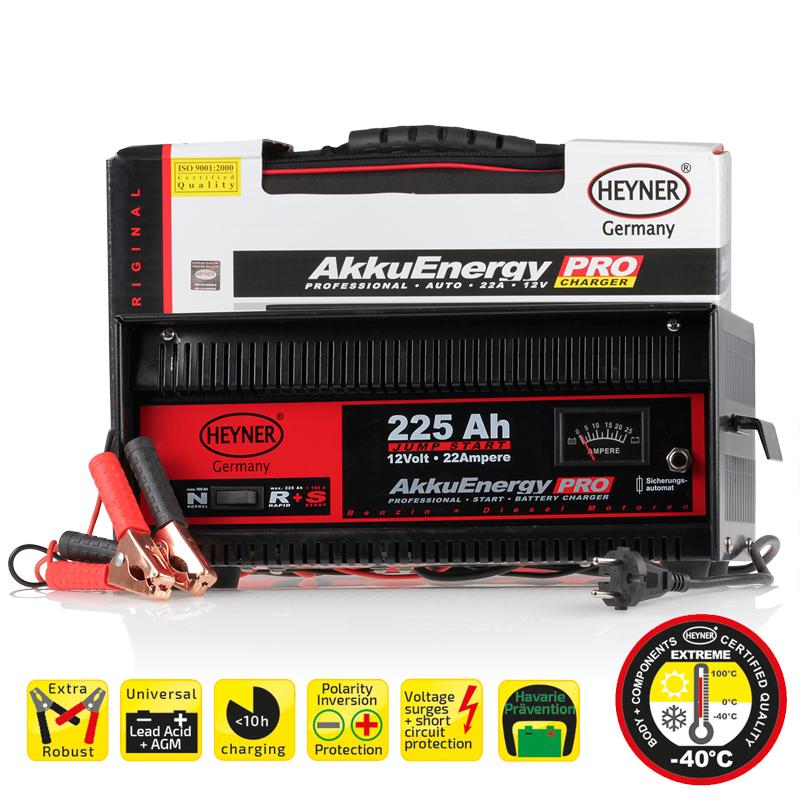 Зарядное устройство AkkuEnergy 22А 12 V 30-225 Ah932280Зарядное устройство AkkuEnergy 22А 12 V 30-225 Ah. Предназначен для всех видов свинцово-кислотных АКБ в ттом числе AGM. Стрелочный индикатор напряжения зарядки. Гарантирована стабильная работа до -40 С. Защита от короткого замыкания и от обратной полярности. Защита от пререгрузок. Габариты 36х16х22 см. Удобная сумка для хранения.