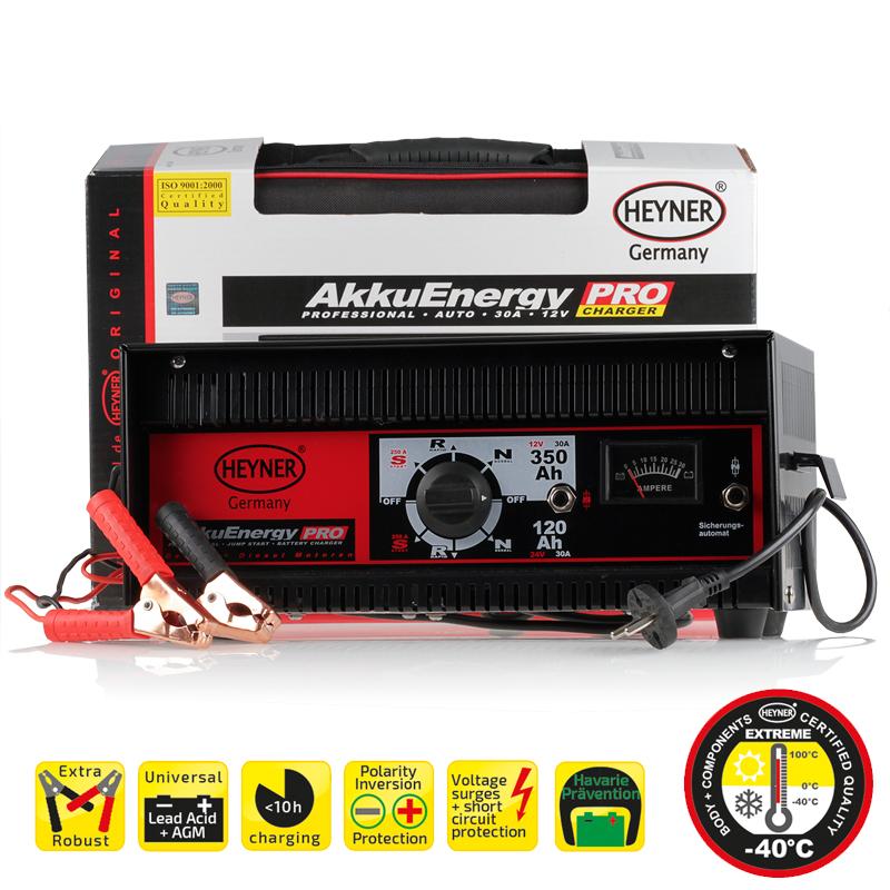 Зарядное устройство AkkuEnergy 30А 12/24 V 30-350 Ah933080Зарядное устройство AkkuEnergy 30А 12/24 V 30-350 Ah. Предназначен для всех видов свинцово-кислотных АКБ в ттом числе AGM. Стрелочный индикатор напряжения зарядки. Гарантирована стабильная работа до -40 С. Защита от короткого замыкания и от обратной полярности. Защита от пререгрузок. Габариты 36х16х22 см. Удобная сумка для хранения.