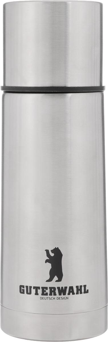 Термос Guterwahl, 350 млZC-5027-350Термос Guterwahl изготовлен из высококачественной нержавеющей стали, снаружи корпус имеет матовое покрытие. Двойные стенки обеспечивают долгое сохранение температуры напитка. Подходит для горячих и холодных напитков. Пробка плотно закручивается. Благодаря вакуумной кнопке внутри создается абсолютная герметичность, что предотвращает проливание напитков. Верхнюю крышку можно использовать в качестве чаши для напитка. Стильный функциональный термос будет незаменим в дороге, на пикнике. Его можно взять с собой куда угодно, и вы всегда сможете наслаждаться горячим домашним напитком. Не рекомендуется мыть в посудомоечной машине. Высота термоса (с учетом крышки): 19,5 см. Диаметр основания: 6,5 см. Диаметр горлышка: 4,5 см.