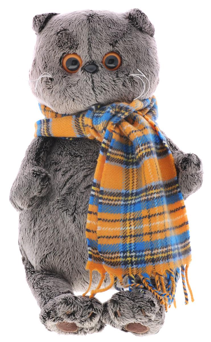 Мягкая игрушка Басик с шарфом в клеточку 30 смKs30-002Мягкая игрушка Басик с шарфом в клеточку подарит малышу немало прекрасных мгновений. Дети очень трепетно относятся к домашним животным, особенно они любят котов и собак и часто просят своих родителей приобрести им такого друга. Однако домашние питомцы не всегда хорошо влияют на детей - они могут поцарапать и даже вызвать аллергическую реакцию, поэтому приходят на помощь мягкие игрушки, очень похожие на настоящих питомцев. С этим шотландским вислоухим котиком можно играть, отдыхать и засыпать в обнимку, рассказывая свои секреты. У него густая плюшевая шерстка, которую так приятно гладить. У Басика круглые медовые глазки, маленькие ушки и черный носик. На Басике надет теплый широкий шарф в оранжево-голубую клетку. Мягкие игрушки очень полезны для малышей, потому что весьма позитивно влияют на детскую нервную систему, прогоняя всевозможные страхи. Играя, малыш развивает фантазию и воображение, развивает тактильную чувствительность и хватательные...