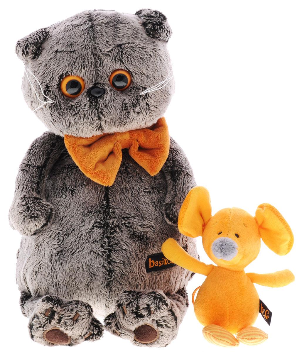 Мягкая игрушка Басик с мышкой Миленой 25 смKs25-052Мягкая игрушка Басик с мышкой Миленой подарит малышу немало прекрасных мгновений. Дети очень трепетно относятся к домашним животным, особенно они любят котов и собак и часто просят своих родителей приобрести им такого друга. Однако домашние питомцы не всегда хорошо влияют на детей - они могут поцарапать и даже вызвать аллергическую реакцию, поэтому приходят на помощь мягкие игрушки, очень похожие на настоящих питомцев. С этим шотландским вислоухим котиком можно играть, отдыхать и засыпать в обнимку, рассказывая свои секреты. У него густая плюшевая шерстка, которую так приятно гладить. У Басика круглые медовые глазки, маленькие ушки и черный носик. На Басике надета оранжевая бабочка на резинке. В комплекте с Басиком идет его подружка - оранжевая мышка Милена. Мягкие игрушки очень полезны для малышей, потому что весьма позитивно влияют на детскую нервную систему, прогоняя всевозможные страхи. Играя, малыш развивает фантазию и воображение, развивает тактильную...