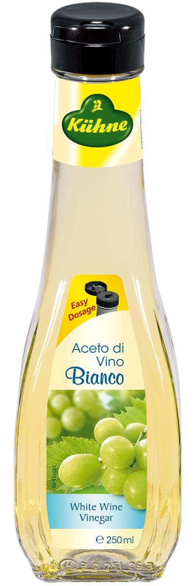 Kuhne Aceto di Vino Bianco уксус 6% из белого вина, 250 мл0560154Уксус Kuhne Aceto di Vino Bianco производится из сухого белого вина и используется в составе многих блюд средиземноморской кухни. Винный уксус очень хорош в соусах, а также им можно заменять белое вино при приготовлении различных лакомств. Его легкий аромат и тонкий вкус украсят практически любое блюдо – шашлык и маринованную рыбу, блюда из курицы и такое красивое сочетание, как овощной салат с сыром и виноградом. С винным уксусом хорошо сочетаются многие пряности: перец, горчица, майоран.