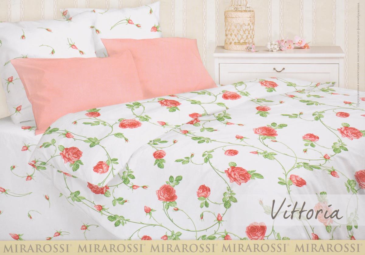 Комплект белья Mirarossi Vittoria, 2-спальный, наволочки 70х70, цвет: белый, красный, зеленый20п-1MR_redРоскошный комплект постельного белья Mirarossi Vittoria выполнен из ткани Перкаль, натурального 100% хлопка. Ткань приятная на ощупь, при этом она прочная, хорошо сохраняет форму и не образует катышков на поверхности. Инновационная технология обработки ткани Easy Care позволяет белью дольше оставаться свежим. Органические активные вещества Easy Care на основе натуральных компонентов, эффективно препятствуют сминаемости и деформации ткани, что позволяет вам практически не тратить время на глажку постельного белья. Комплект состоит из пододеяльника, простыни и двух наволочек. Изделия оформлены цветочным принтом. Благодаря такому комплекту постельного белья вы создадите неповторимую атмосферу в вашей спальне.