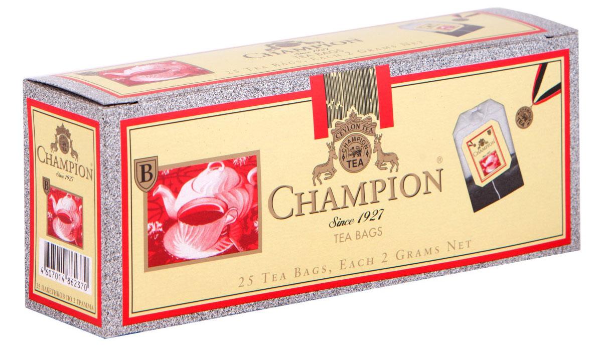 Champion черный листовой чай в пакетиках, 25 шт