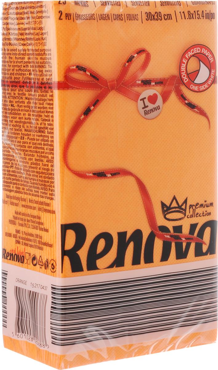 Салфетки бумажные Renova, двуслойные, цвет: оранжевый, 25 шт20688Двухслойные салфетки Renova выполнены из натуральной целлюлозы. Они отличается необыкновенной мягкостью и прочностью. Салфетки выполнены в ярком цвете. С такими салфетками каждый ужин станет особенным. Уже аккуратно сложенные и готовые к трапезе. Размер салфетки: 39 х 30 см.