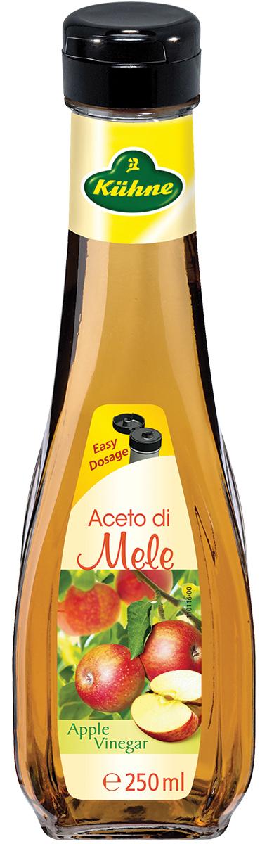 Натуральный уксус Kuhne Aceto di Mele производится из яблочного вина методом натурального брожения. Продукт имеет мягкий вкус и прекрасно усваивается. Уксус послужит прекрасным дополнением при приготовлении блюд из мяса, рыбы, а также всевозможной выпечки.