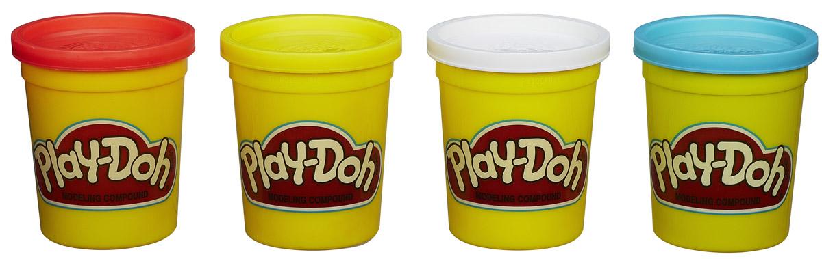 Play-Doh Пластилин голубой белый желтый красный 4 шт