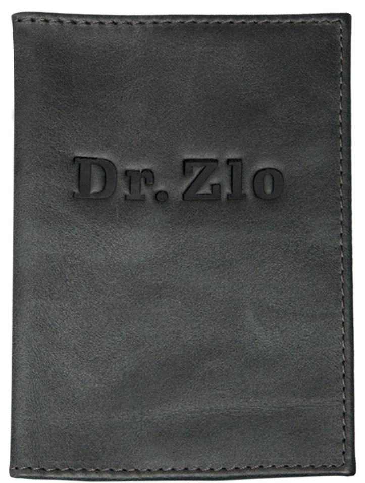 Обложка для паспорта ОРЗ-дизайн Dr. Zlo, цвет: черно-серый. Орз-0291Орз-0291Обложка на паспорт кожаная с тиснением