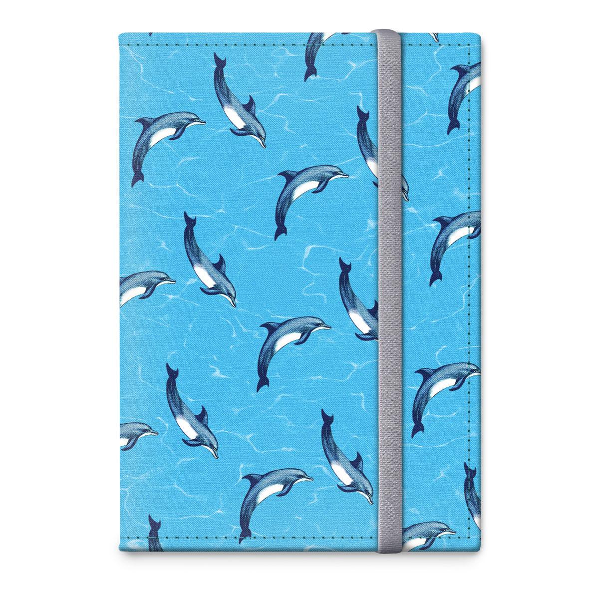 Обложка для паспорта ОРЗ-дизайн Дельфины, цвет: голубой, черный. Орз-0314Орз-0314Обложка на паспорт текстильная с авторским принтом